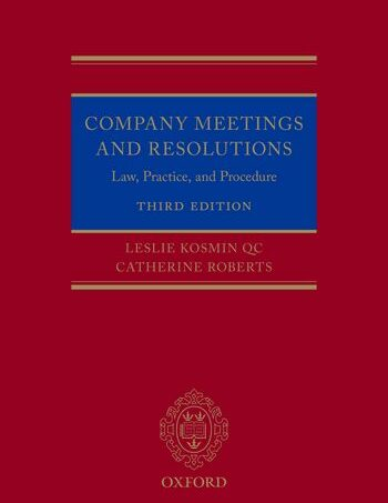 Photo of KOSMIN & ROBERTS – COMPANY MEETINGS: LAW, PRACTICE AND PROCEDURE, THIRD EDITION NOW AVAILABLE